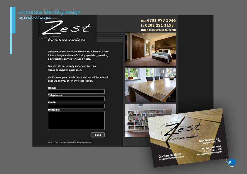 corporate identity design of a logotype, business cards, microsite for Zest Furniture makers