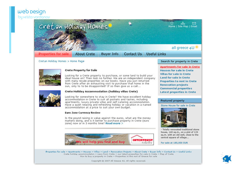 website design of Cretan Holiday Homes