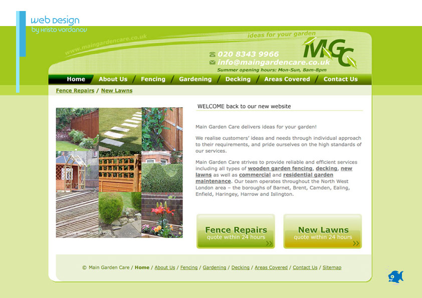 website design for Main Garden Care