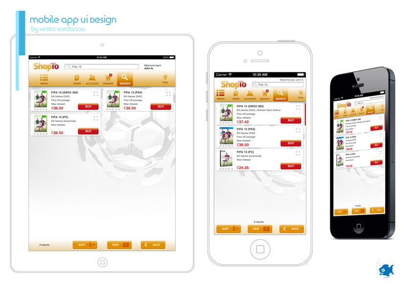 mobile application UI design for ShopTo